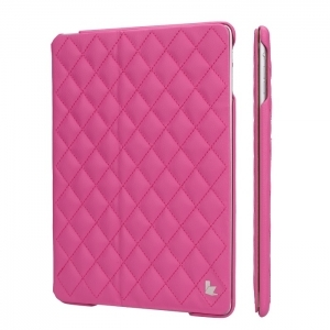 Чехол для iPad Air JisonCase QUILTED LEATHER SMART CASE малиновый