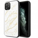Чехол Guess Double Layer Marble Hard Tempered glass для Apple iPhone 11 Pro (белый)
