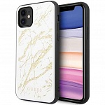 Чехол Guess Double Layer Marble Hard Tempered glass для Apple iPhone 11 ( белый)