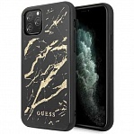 Чехол Guess Double Layer Marble Hard Tempered glass для Apple iPhone 11 Pro (черный)