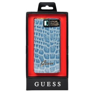 Чехол для iPhone 5/5S Guess Croco Wallet slim Strap голубой