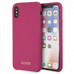 Чехол Guess для iPhone X Silicone Collection Gold Logo Pink