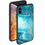 Чехол для iPhone XS Max Deppa Glass Case (голубой)