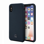 Чехол для iPhone XS Max Mercedes Silicone line Hard (синий)