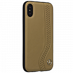 Чехол накладка Mercedes для iPhone X New Bow l Hard Leather Camel