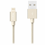 Кабель передачи данных Rock Lightning Metal charge & Sync Round Cable 20 cm gold