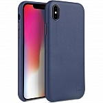 Кожаный чехол для iPhone XS Max Uniq Duffle Vale Genuine leather Navy blue