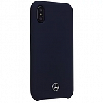 Чехол накладка Mercedes для iPhone X Silicone line Hard Navy