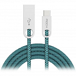 Кабель передачи данных Rock Type-C to USB Cobblestone round cable 1м light malachite green
