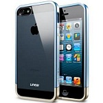 Бампер SGP Linear Crystal Metal для iPhone 5, 5s (голубой)