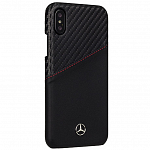 Чехол накладка Mercedes для iPhone X Dynamic Card slot Hard Leather/Carbon, Black