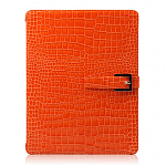 Кожаный чехол для Apple iPad 2\3\4 Zenus Presitge Prima Croco Series(orange)